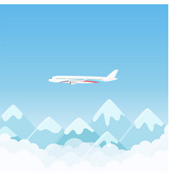 flat simple travel banner with aircraft with vector image