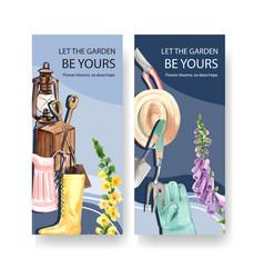 Flower garden flyer design with garden tools vector