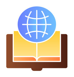 Foreign language book flat icon globe and book vector