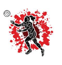 Gaelic football woman player cartoon sport graphic vector