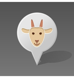 Goat pin map icon animal head vector