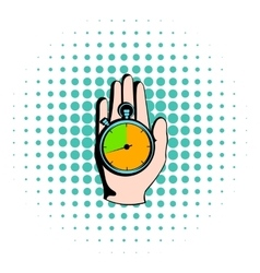 Hand holding a stopwatch icon comics style vector