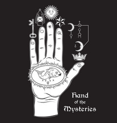 Hand mysteries alchemical symbol vector