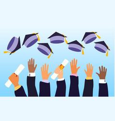 hands a class graduates on graduation day vector image