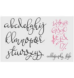 Handwritten pointed pen flourish font vector image