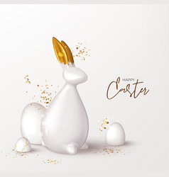 happy easter festive card template vector image