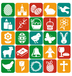 happy easter set icons vector image