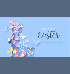 Happy easter web template paper cut spring rabbit vector