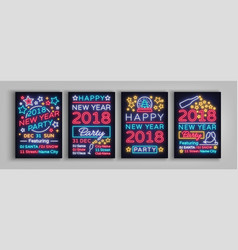 happy new year 2018 set poster vector image