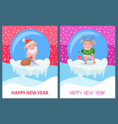 happy new year pig wearing knitted sweater print vector image
