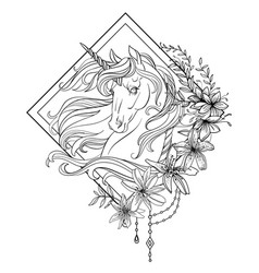 Head unicorn with lily flowers coloring vector