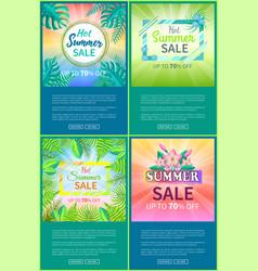 hot summer sale web posters set up 70 off banner vector image