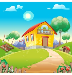 house with garden int countryside vector image
