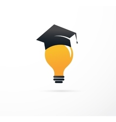 Idea and education - light bulb student hat vector