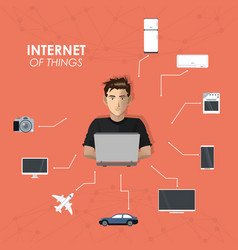 Internet things man working laptop entertainment vector