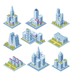 isometric city architecture cityscape building vector image