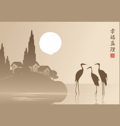Landscape with three herons in the lake at sunset vector