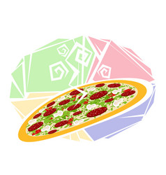 large hot pizza vector image