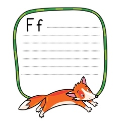 Little funny jumping fox for abc alphabet f vector