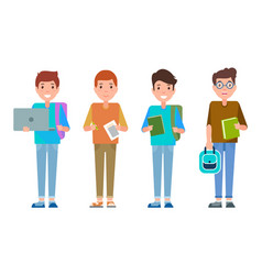 Male students poster with teenagers schoolboys set vector