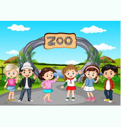 Many children visiting zoo vector