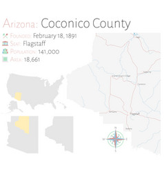 Map coconico county in arizona vector