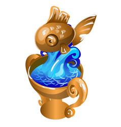 metal souvenir in form a gold fish vector image