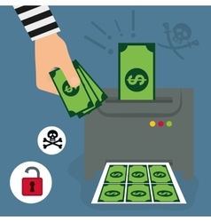 Money fraud and hacking design vector