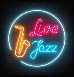 Neon jazz cafe with live music and saxophone vector