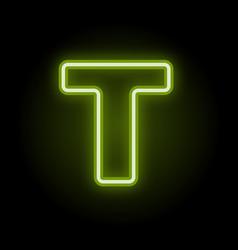 Neon letter t on black vector