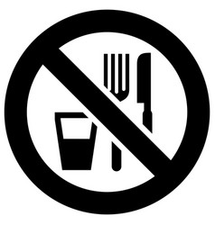 No eat and drink forbidden sign modern round vector