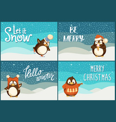 north pole cartoon penguins in warm winter cloth vector image