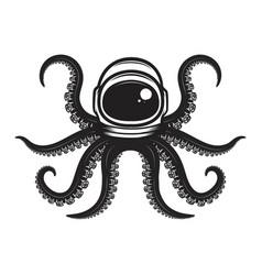 Octopus in spaceman helmet design element vector