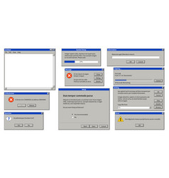 Old user interface browser window error message vector