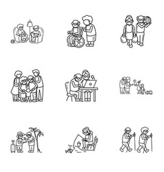 older person life icon set outline style vector image