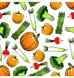Organic farm vegetables seamless pattern vector