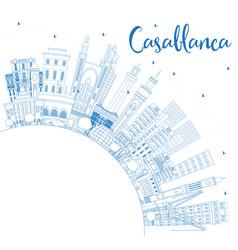 Outline casablanca morocco city skyline with blue vector