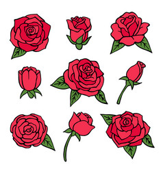 pictures set various roses love symbols vector image