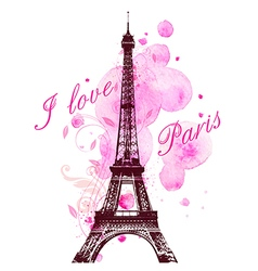Pink watercolor blots and Eiffel Tower vector image