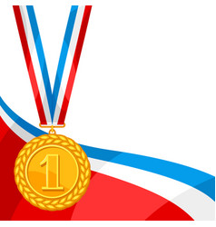 realistic gold medal for first place background vector image