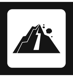 Rockfall in mountains icon simple style vector image
