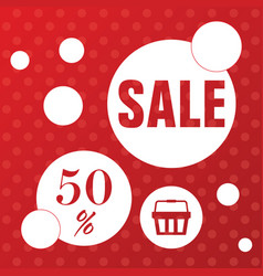 sale icon with basket in red color vector image