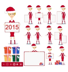 Santa Girl with Gifts and poster vector