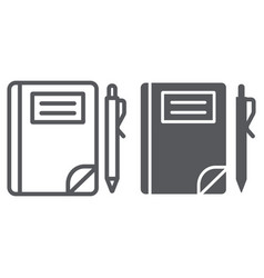 school notebook line and glyph icon paper and vector image