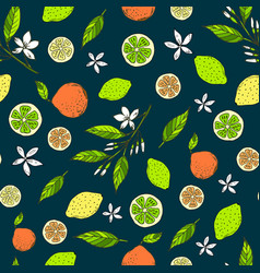 Seamless citrus pattern with yellow lemons bitter vector