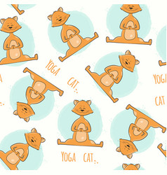 Seamless pattern with cute cartoon cat in yoga vector