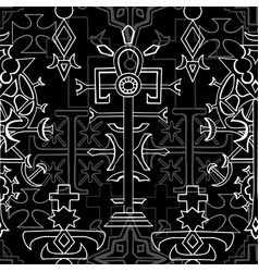 seamless pattern with fantasy crosses 6 vector image