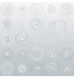 Set of abstract hud elements isolated on gray vector