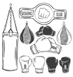 Set of boxing equipment monochrome labels vector