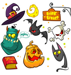 Set of halloween pumpkin and attributes witch cat vector
